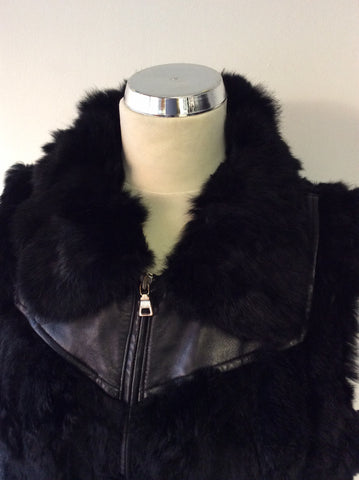 HOLLIES STOCKHOLM BLACK LEATHER & RABBIT FUR GILET SIZE 44 UK 16 - Whispers Dress Agency - Womens Gilets & Body Warmers - 2