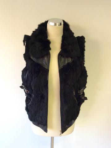 HOLLIES STOCKHOLM BLACK LEATHER & RABBIT FUR GILET SIZE 44 UK 16 - Whispers Dress Agency - Womens Gilets & Body Warmers - 3