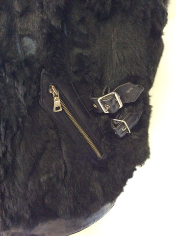 HOLLIES STOCKHOLM BLACK LEATHER & RABBIT FUR GILET SIZE 44 UK 16 - Whispers Dress Agency - Womens Gilets & Body Warmers - 6