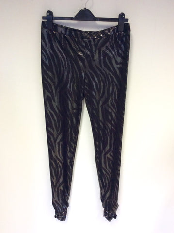 BRAND NEW ARMANI EXCHANGE BLACK & SILVER PRINT LEGGINGS SIZE L - Whispers Dress Agency - Womens Trousers - 1