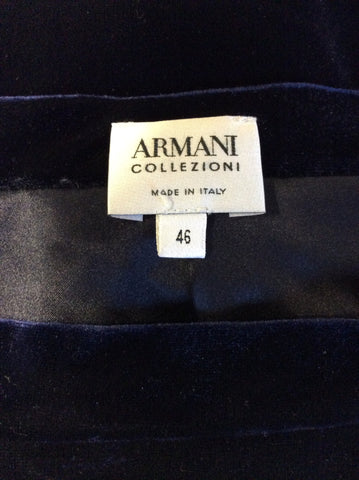 ARMANI COLLEZIONI DARK BLUE VELVET EVENING SKIRT SIZE 46 UK 14 - Whispers Dress Agency - Womens Skirts - 3