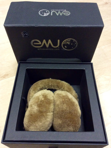 BRAND NEW IN BOX EMU AUSTALIA TOFFEE SHEEPSKIN EAR MUFFS - Whispers Dress Agency - Womens Other Accessories - 1