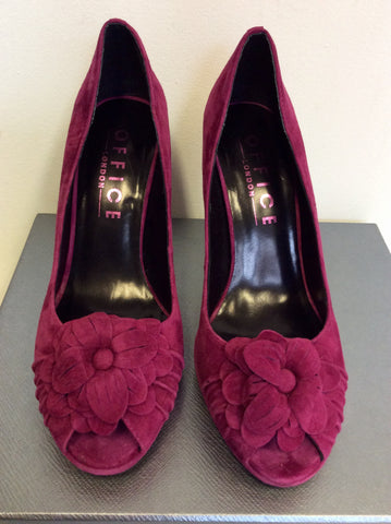 BRAND NEW OFFICE DEEP PINK SUEDE PEEPTOE HEELS SIZE 7/40