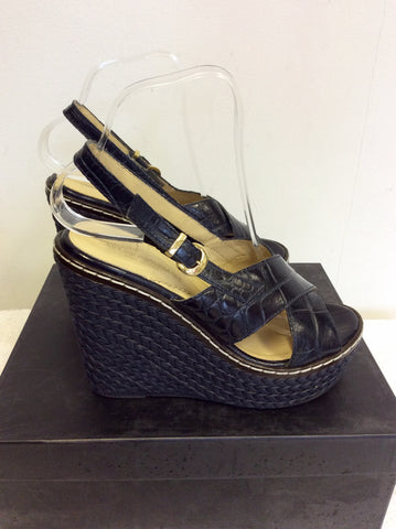 EMPORIO ARMANI DARK BLUE LEATHER WEDGE HEEL SANDALS SIZE 4/37 - Whispers Dress Agency - Womens Wedges - 3