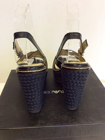 EMPORIO ARMANI DARK BLUE LEATHER WEDGE HEEL SANDALS SIZE 4/37 - Whispers Dress Agency - Womens Wedges - 5