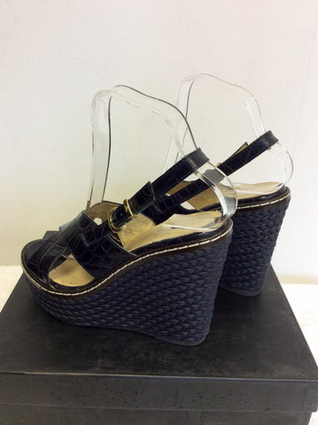 EMPORIO ARMANI DARK BLUE LEATHER WEDGE HEEL SANDALS SIZE 4/37 - Whispers Dress Agency - Womens Wedges - 4