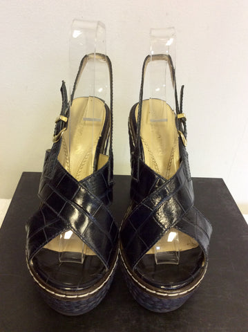 EMPORIO ARMANI DARK BLUE LEATHER WEDGE HEEL SANDALS SIZE 4/37 - Whispers Dress Agency - Womens Wedges - 2