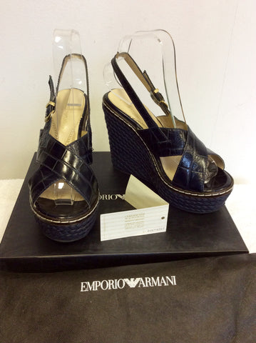 EMPORIO ARMANI DARK BLUE LEATHER WEDGE HEEL SANDALS SIZE 4/37 - Whispers Dress Agency - Womens Wedges - 1