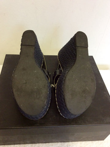 EMPORIO ARMANI DARK BLUE LEATHER WEDGE HEEL SANDALS SIZE 4/37 - Whispers Dress Agency - Womens Wedges - 6