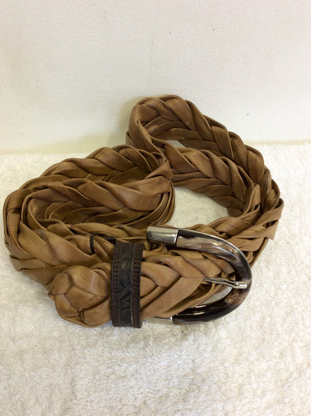 ITALIAN POST.CO TAN BROWN LEATHER PLAITED BELT SIZE S/M/L