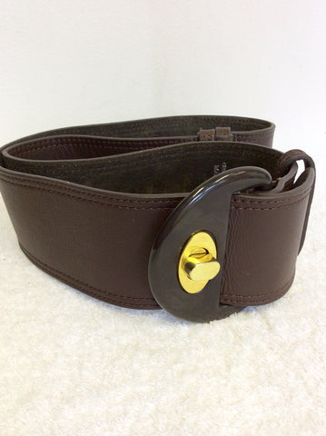 STEVE MADDEN DARK BROWN LEATHER TWIST LOCK BELT ONE SIZE