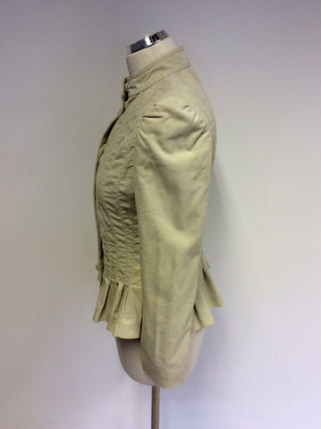 BIRGER ET MIKKELSEN CREAM BRUSHED COTTON JACKET SIZE 36 UK 6/8