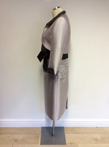 CARINA SILVER GREY SPECIAL OCCASION DRESS & MATCHING BOLERO JACKET SIZE 12