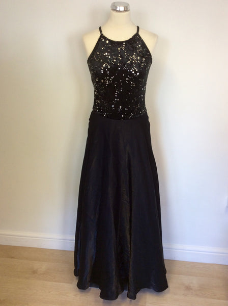 Elinette Black And Silver Trim Full Length Ballgown Size S