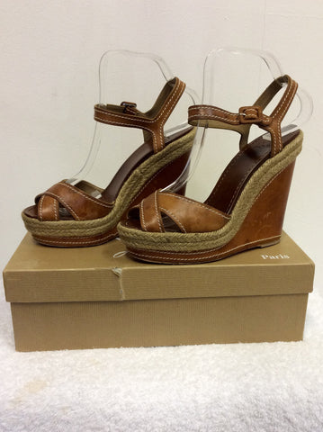 CHRISTIAN LOUBOUTIN TAN LEATHER WEDGE HEEL SANDALS SIZE 6/39