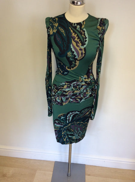 EMILIO PUCCI GREEN PRINT LONG SLEEVE DRESS SIZE 8