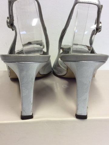 RENATA SILVER LEATHER BOW TRIM SLINGBACK HEELS SIZE 5/38