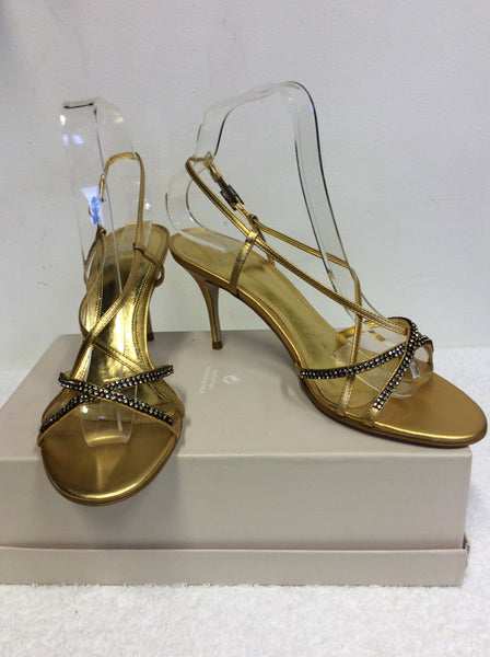 BRAND NEW CARVELA GOLD DIAMANTÉ TRIM STRAPPY SANDALS SIZE 5/38