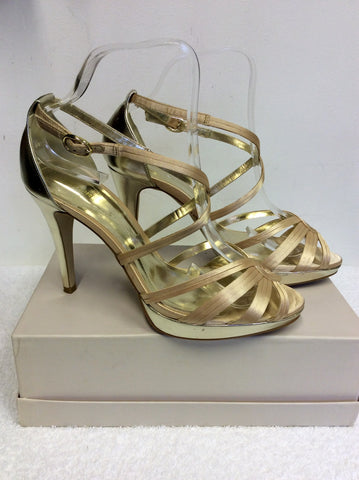 MONSOON GOLD STRAPPY HEEL SANDALS SIZE 6/39