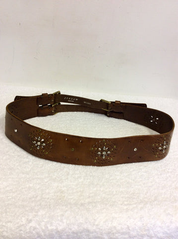 JIGSAW BROWN LEATHER STUDDED DOUBLE BUCKLE BELT SIZE M