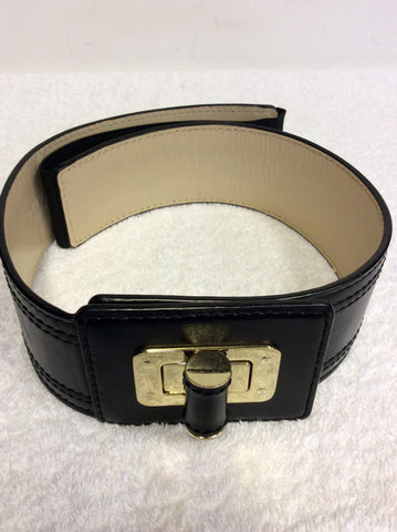 REISS BLACK LEATHER TWIST LOCK FASTEN 2 INCH BELT