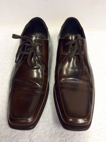 MARKS & SPENCER AUTOGRAPH BROWN ALL LEATHER LACE UP SHOES SIZE 8/42
