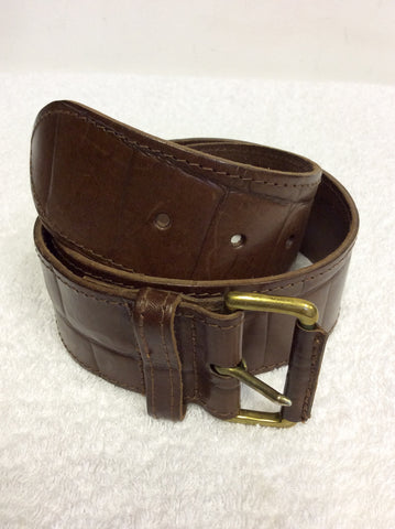 "OSPREY BROWN CROC DESIGN BLEATHER BELT SIZE 28"" UK S"