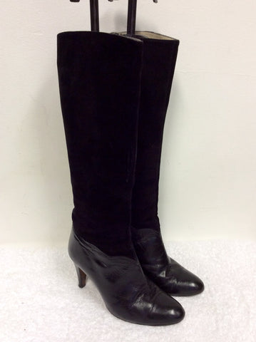 VINTAGE ROSETA BY JUAN TRAID BLACK SUEDE & LEATHER KNEE LENGTH BOOTS SIZE 4/37