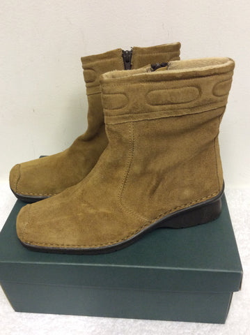 BRAND NEW K SOFTEES MALATI SAND SUEDE ANKLE BOOTS SIZE 6.5/39.5