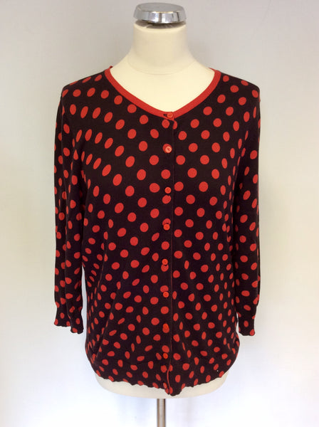 HOBBS DARK BROWN & RED SPOT COTTON CARDIGAN SIZE 16