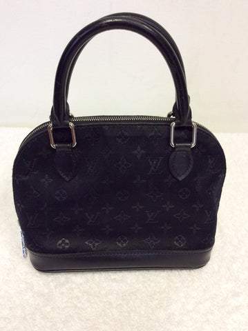 LOUIS VUITTON BLACK SATIN MONOGRAM SMALL ALMA BAG