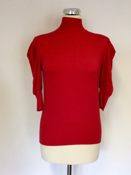 Marks & Spencer Red Pleated 3/4 Sleeve Polo Neck Jumper Size 12