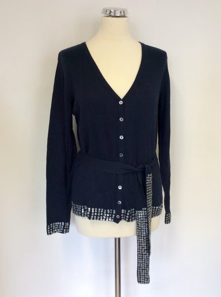 Fransa Dark Blue & Sequin Trim Belted Cardigan Size M