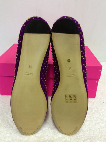 BRAND NEW MULBERRY PLUM GOLD STUUDED T BAR SUEDE FLATS SIZE 6/39