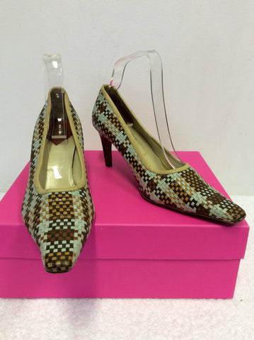 MULBERRY DUCK EGG & BROWN LEATHER WEAVE HEELS SIZE 6/39.5