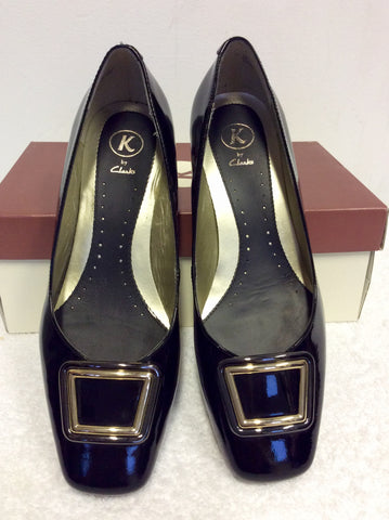 BRAND NEW K BY CLARKS BLACK PATENT LEATHER BUCKLE TRIM HEELS SIZE 5/38