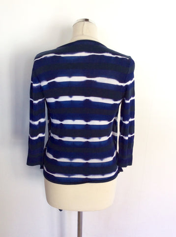 KAREN MILLEN BLUE & WHITE STRIPED CARDIGAN/TOP SIZE 3 UK 14/16
