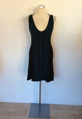 ARMANI TEAL & BLACK SILK BLEND FINE KNIT STRAPPY DRESS SIZE M