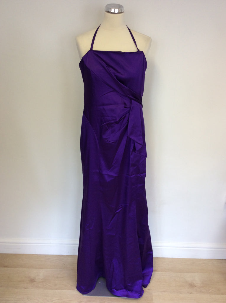 4c955ac9e970 Coast Purple Satin Full Length Strapless Evening Dress Size 14 ...