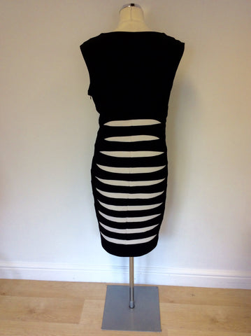 ALEXON BLACK & WHITE STRIPED PENCIL DRESS SIZE 18