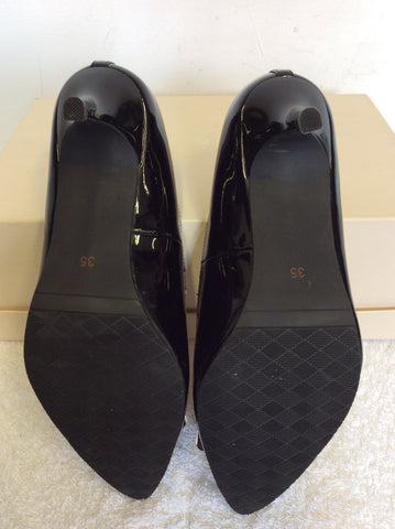 BRAND NEW J WEST BLACK PATENT LEATHER & GOLD BUCKLE HEELS SIZE 3/35
