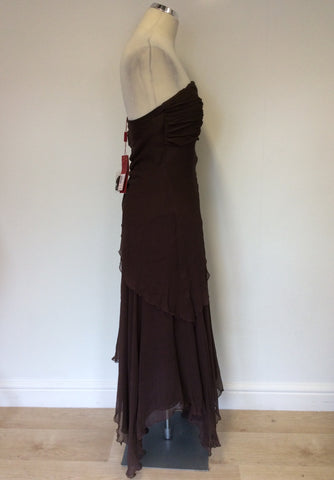BRAND NEW COAST ISABELLA BROWN SILK STRAPLESS/ STRAPPY LONG DRESS SIZE 10