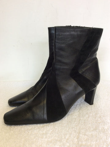 CLARKS BLACK LEATHER & SUEDE TRIM ANKLE BOOTS SIZE 8/42