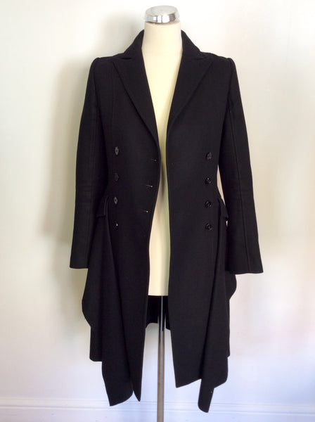 ALL SAINTS BLACK WOOL BLEND OBIA COAT SIZE 6