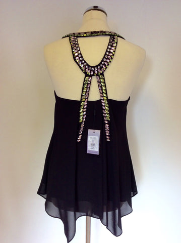 BRAND NEW COAST BLACK STRAPPY JEWEL TRIM FLAVIA TOP SIZE 8