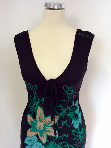 BRAND NEW DUCK & COVER BLACK WITH GREEN & BEIGE FLORAL PRINT MAXI DRESS SIZE S
