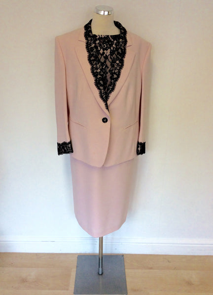 BASLER LIGHT PINK AND BLACK LACE DRESS AND JACKET SUIT SIZE 20