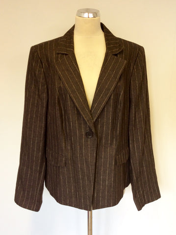 BRAND NEW MARKS & SPENCER AUTOGRAPH BROWN PINSTRIPE LINEN BLEND JACKET SIZE 22