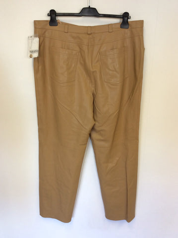 BRAND NEW BASLER CAMEL FAUX LEATHER TROUSERS SIZE 22