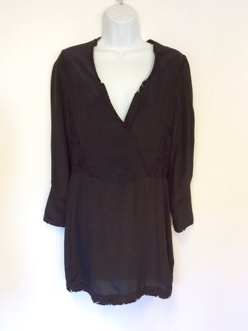 ALL SAINTS BLACK SILK BLEND LACE TRIM DRESS SIZE 4